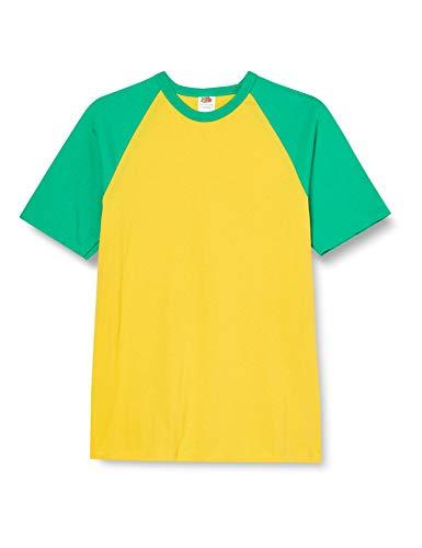 Fruit of the Loom Mens Short Sleeve Baseball T-Shirt (XXL) (Sunflower/Kelly Green)