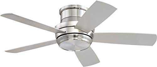 Craftmade Flush Mount Ceiling Fan with LED Light and Remote TMPH44BNK5 Tempo 44 Inch Brushed Polished Nickel, Hugger Fan