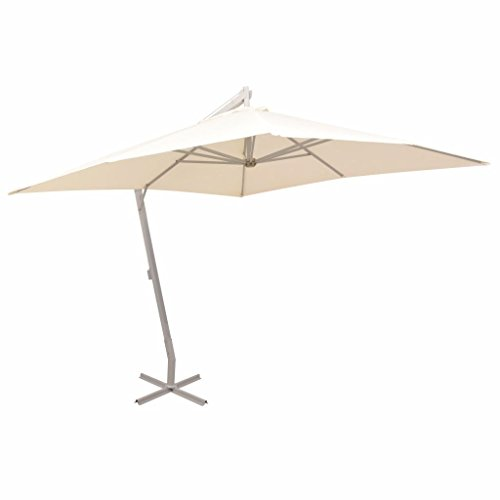 vidaXL Sonnenschirm mit Kurbelmechanismus Gartenschirm Strandschirm Ampelschirm Schirm Balkonschirm Marktschirm 300x300cm Sand Aluminiummast