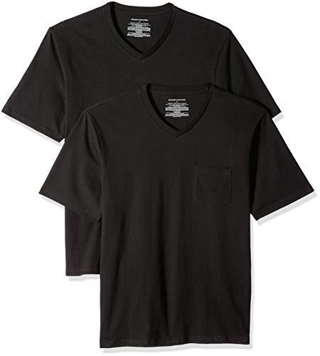 Amazon Essentials Herren T-Shirt, lockere Passform, V-Ausschnitt, Brusttasche, 2er-Pack, Schwarz (Black Bla), US L (EU L)