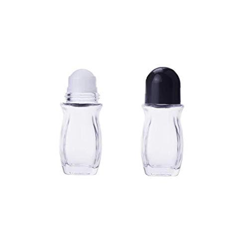 2 Pcs recargables Cristal Desodorante Roll-on Botellas, a prueba de fugas Botellas de masaje de rodillos envases con bola de rodillo Cap Negro para los aceites esenciales de aromaterapia (50 ml)