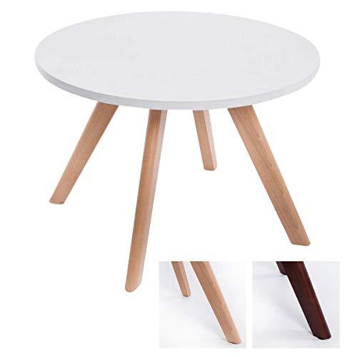 CLP Tavolino Design Eirik Tavolino Rotondo Ripiano Bianco Opaco I Tavolino Salotto Ø 60 CM, Alt.40 CM, Colore:Natura
