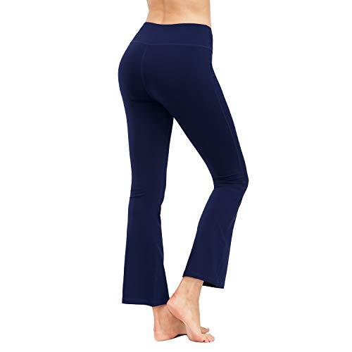 HMIYA Bootcut Yogahose, Flare Hose Fitness Joga Sporthose Damen(Tasche/Marine,XL)