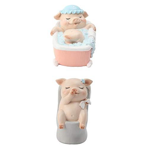 MagiDeal 2 Stück Miniatur Schwein Modell Statue Fee Gartendekor Spielzeug Handeln Niedlichen Spielzeug