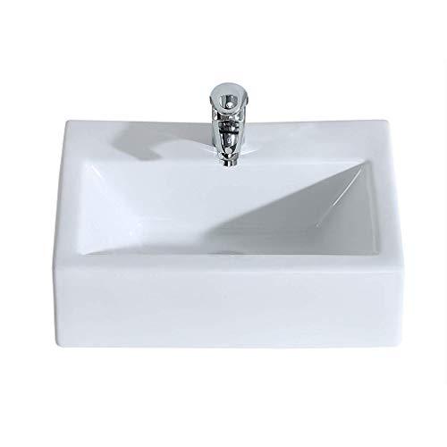Witte rechthoekige keramische badkamer wastafel lavendel aanrecht Shampoo wastafel wastafel 0708