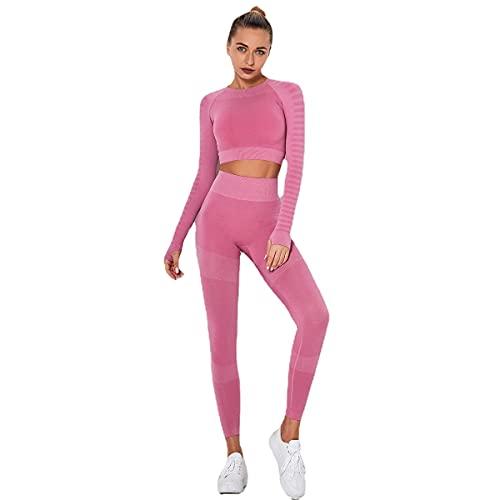 J'asayla Conjunto de yoga de 2 piezas de entrenamiento de gimnasio mono de running ropa deportiva chándal fitness camiseta de manga larga con leggings de cintura alta para mujer, rosa, M