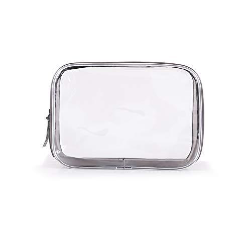Hirkase Transparante toilettas, waszakje, transparant, cosmetica-zakje, voor koffer in handbagage, make-up cosmetische reistas waterdicht doorzichtig (M -17 * 6 * 12)