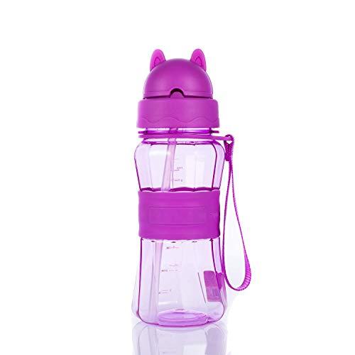 Mosako - Botella de agua para niños con botella de agua deportiva sin BPA, apta para actividades familiares, escolares y al aire libre (morado)