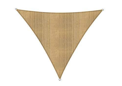 Lumaland Sonnensegel Dreieck 5 x 5 x 5 m - inkl. Befestigungsseile - Wasserabweisend, Wetterbeständig, 100% HDPE mit UV Schutz - Sonennschutz, Schattenspender, Wetterschutz - Sand
