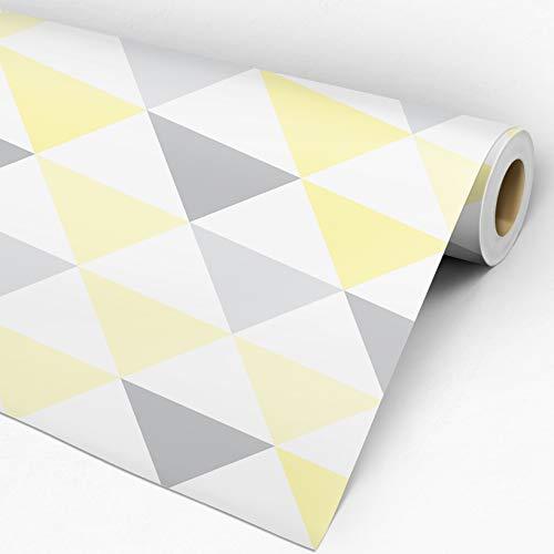 Papel de Parede Adesivo Geométrico Triângulos Amarelo Cinza