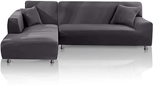 TOPOWN Funda para sofá Chaise Longue Impermeable, Funda para Sofa en Forma L, Funda Chaise Longue Derecho/Izquierdo de 3 Asientos + 3 Asientos, con 2 Fundas de cojín, Gris Claro