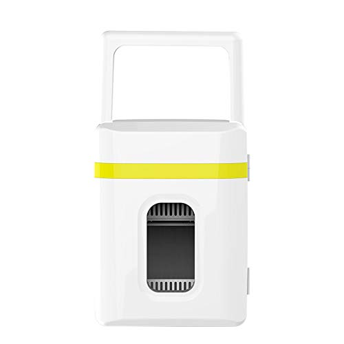 Lieling Mini-autokoelkast, minibar, stil, thermo-elektrische koel- en verwarmingsfunctie, drankenkoelkast, AC 220 V DC12 V, voor cars Homes Offices slaapzalen Yellowwhite