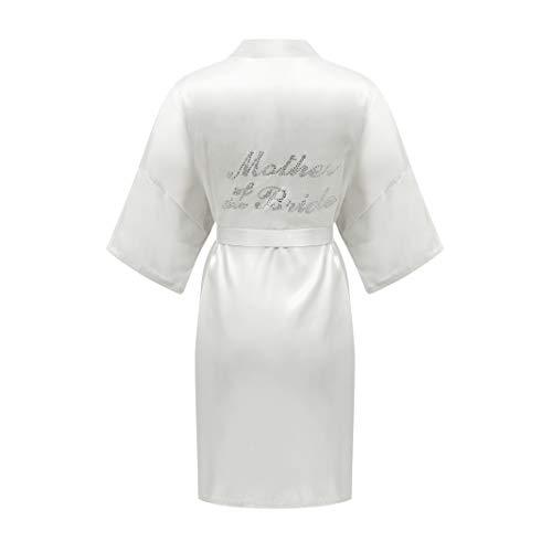 ALHAVONE Damen-Kimono, Einheitsgröße, Strass, für Braut, Brautjungfer, seidig, kurz, einfarbig, für die Hochzeit - Wei� - Einheitsgröße