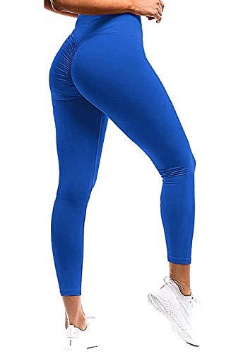 FITTOO Mallas Pantalones Deportivos Leggings Mujer Yoga de Alta Cintura Elásticos y Transpirables para Yoga Running Fitness con Gran Elásticos Azul XL