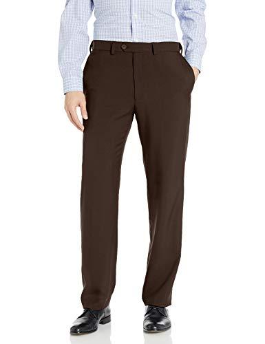 Haggar Men's Eclo Stria Expandable-Waist Plain-Front Dress Pant Brown 38x30