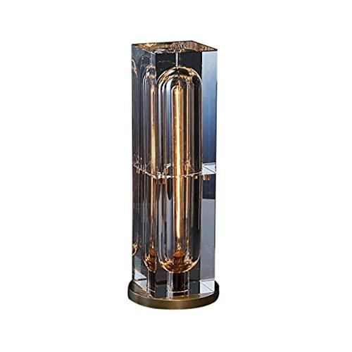 Lámpara de mesa de metal de cobre Nórdico Minimalista Creatividad Escritorio Lámpara Luz Moderna Adornos de cristal de lujo Lámpara de oficina para dormitorio