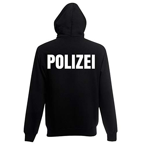 Shirt-Panda Herren Polizei Hoodie · Druck Brust & Rücken Reflex · Polizist Kapuzenpullover · Kapuzenpulli für Polizeibeamte · Wachtmeister Kapuzensweater · Schwarz (Druck Weiß) XL