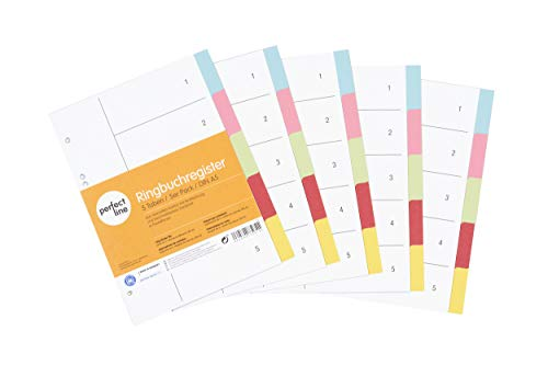 perfect line 5er Pack 5-teiliges DIN-A5 Register farbig (5x5), 16,3 x 21,5 cm, mit Deckblatt, Farb-Trenner aus Karton in 5 Farben, 160 g, perfekte Trenn-Blätter für die Ordner-Organisation im Büro
