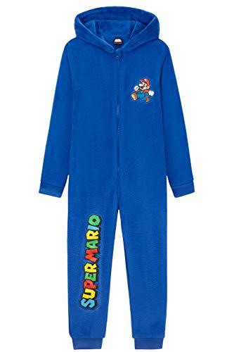 Super Mario Pijama Niño de Una Pieza, Pijama Entero con Mario Bros, Pijamas Niños de Forro Polar con Capucha, Regalos para Niños y Adolescentes 4-15 Años (Azul, 14-15 años)