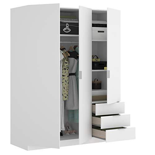 HABITMOBEL Armario Juvenil 3 Puertas + 3 cajones Abatibles 121 cm de Ancho Alto 184cm Color Blanco