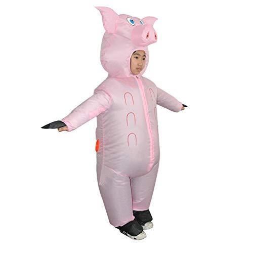 Amosfun Fantasia de porco inflável infantil divertida explosão fantasia roupas de desempenho em palco para festas de carnaval de aniversário ou cosplay (sem bateria), rosa