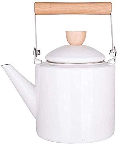EIERFSKIOT Tetera inducción Tetera Acero Inoxidable teteras para te hervidor de Agua Hervidor 2L Esmalte Cocina de inducción de Estilo japonés Tetera de hogar General de Gas Porcelana