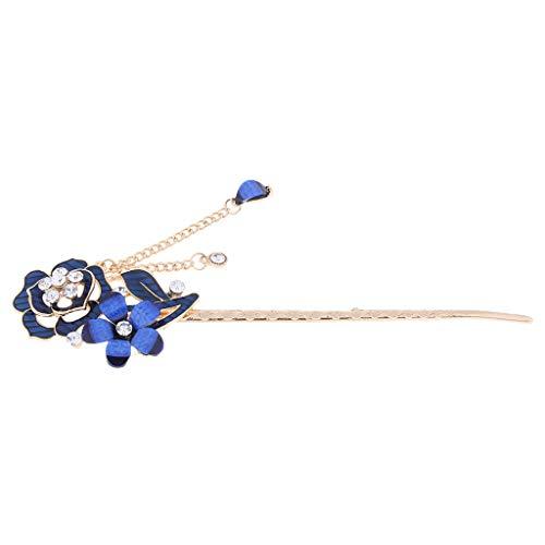 freneci Pin de Pelo Chino para Mujer con Broche de Diamantes de Imitación de Cristal con Borla - Estilo 1-Azul