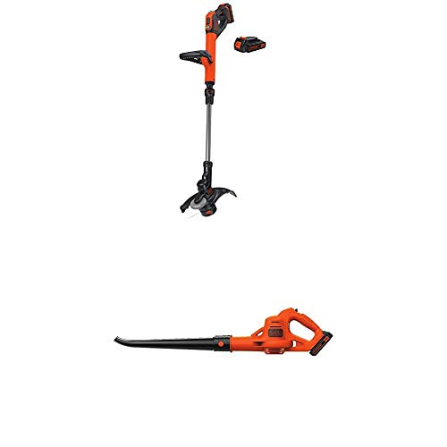 New BLACK+DECKER LSTE525 20V MAX Lithium Easy Feed String Trimmer/Edger with 2 batteries and sweeper