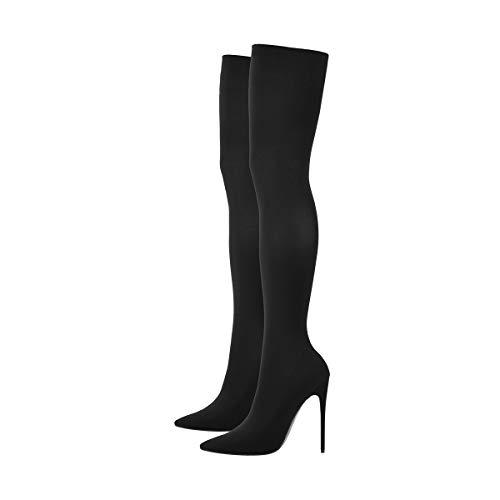 Only maker Damen Overknee Spitze High Heels Stiefel Stiletto Stretch Boots Pumps Schwarz 38 EU