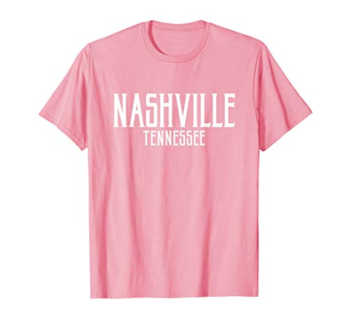 Nashville Vintage Text Pink with White Print T-Shirt