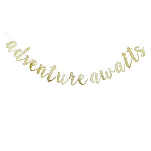 Adventure Awaits Banner, Gold Glitter Sign Garlands for Travel Theme Party, Moving/Graduation/Retirement Party Supplies Decorations