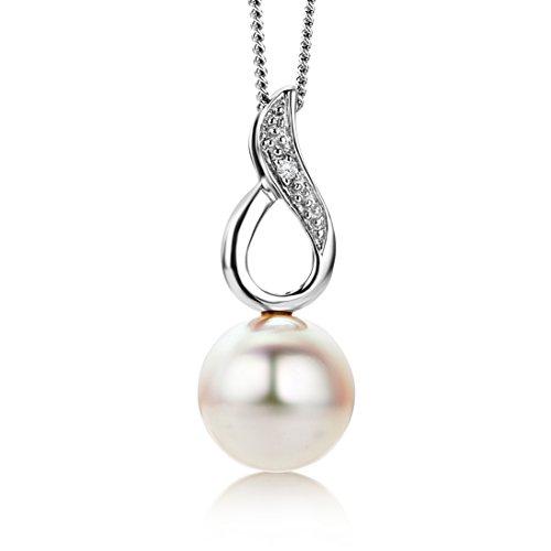 Miore - Catenina con pendente da donna con diamante (0,01 ct), oro bianco 9k
