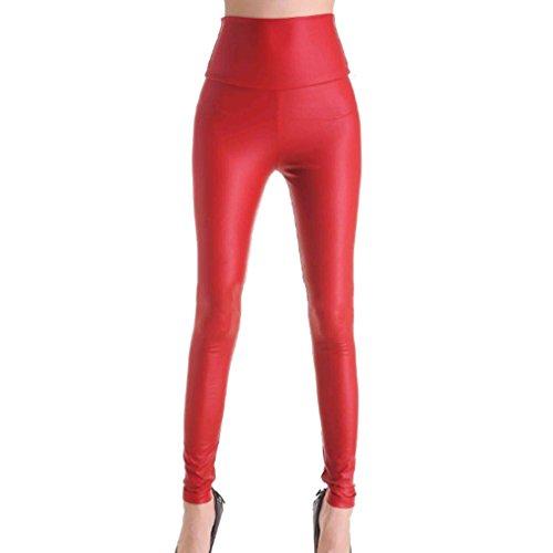 junkai Pantalones Cuero Imitación Sexy Mujeres Stretch Slim Black Red Leopard Legging Mujeres Pantalones Cintura Alta