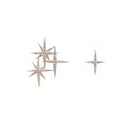 S925 Pendientes de personalidad de temperamento de aguja de plata Pendientes de estrella de diamantes de imitación Pendientes asimétricos de super hada Pendientes de moda