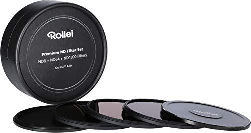 Rollei Premium Objektiv Grau Filterset bestehend aus: je 1x ND 8, ND 64 und ND 1000 Filter aus Gorilla Glas mit Aluminium Ring für Langzeitbelichtung mit Aluminium-Schutzdeckel. (77mm)