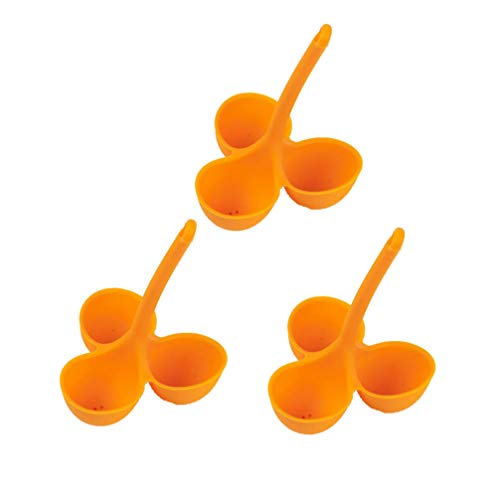 UPKOCH 3 stücke silikon eierhalter eierkocher Ei wilderer für mikrowellenherd 3 Raster (orange)