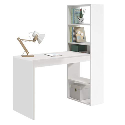 Habitdesign 008314A-Scrivania con mensola, Bianco, Legno ingegnerizzato, 144x120x52 cm