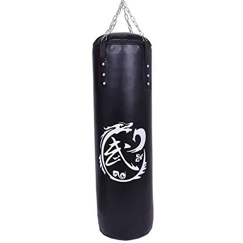 Laije Boxsack Kick Boxing Gefüllt Set Schwere MMA Training Jugend Kampfsport Handschuhe Pratze hängende Kette Deckenhaken Muay Thai (Color : Black, Size : 120cm)