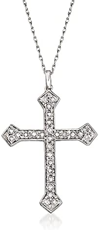 Ross-Simons 0.25 ct. t.w. Diamond Cross Pendant Necklace in Sterling Silver
