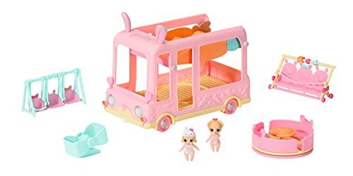 Zapf Creation 904763 BABY born Surprise Babies Bus - rosa Spielzeugbus für kleine Mini Puppen mit 2 exklusiven Püppchen, Drillingsbuggy, Wippe, Karussell, Rutsche und Drillingsschaukel.