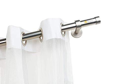 InCasa Bastone per Tende Ø maggiorato 28 mm Senza Anelli, L. 260 cm. in Acciaio Satinato – Completo