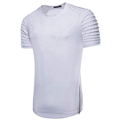 Donci Summer Slim Fit Casual Comfortable Home Party Tees Round Collar Stitching Color Small Size Tops Hipster T Shirt Men