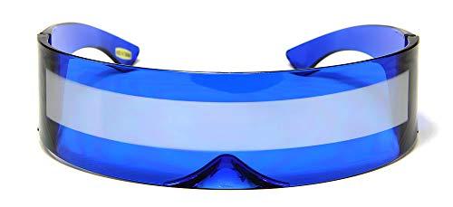 Blue Silver Shield Sunglasses Futuristic Cyclops Monoblock 100% UV400 Mirror Lens