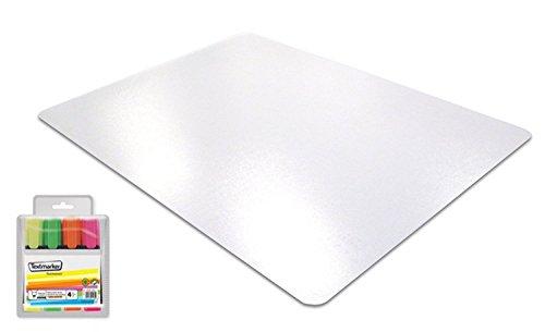 Floortex Transparente Schreibtischunterlage mit Antirutschbeschichtung - extrem stabil und hitzebeständig - Schreibunterlage 61 x 48 cm aus Polycarbonat + GRATIS 4 Textmarker