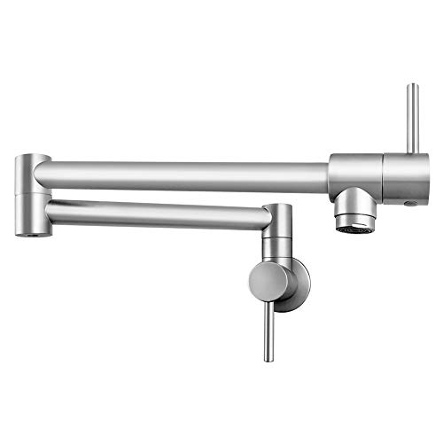 QWORK Pot Filler Faucet Stainless Steel Commercial Wall Mount Kitchen Sink Faucet Folding Stretchable with Single Hole Two Handles