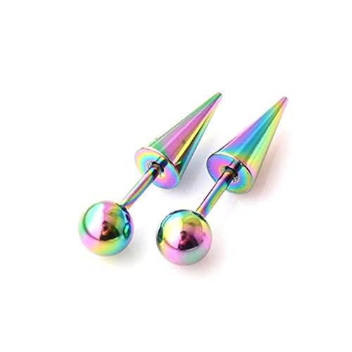 2 unidades/1 par de pendientes de tuerca de acero de titanio con punta redonda y punta de cono (perforada), punk, gótico (color metálico: 4)
