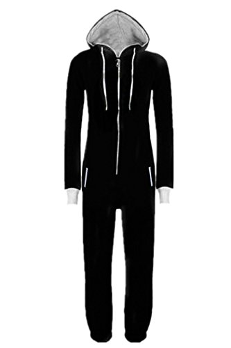 WOTOGOLD Men and Women Black Blue Pajamas Sportswear Hooded Unisex Jumpsuit Black