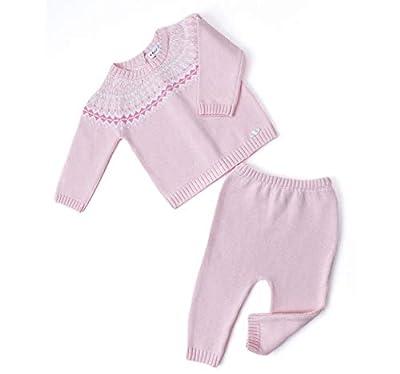PETIT CLAN Newborn Baby Girl Cardigan and Pant Set Sweater Pink