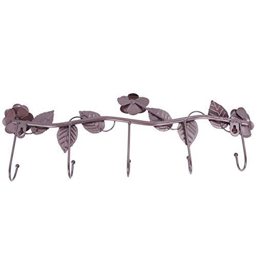 OUNONA Perchero de hierro con 5 ganchos para colgar sobre la puerta de baño, para toallas, abrigos, ropa, sombrero, bolsa de hierro en forma de rosa (bronce)