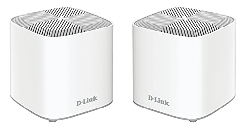 D-Link COVR-X1862, pack 2 extensores red WiFi Mesh hasta 420m2, WiFi-6, AX1800 Mbps, 2p Gigabit, modos router y extensor (funciona con cualquier router/operadora), wifi mallada, WPA3, control parental
